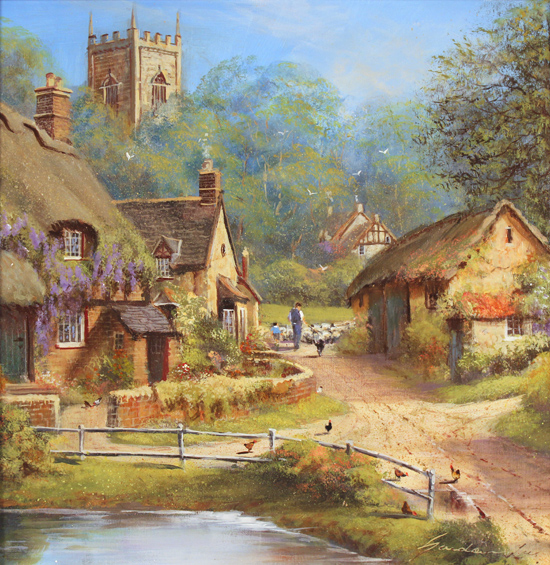 Gordon Lees, Original oil painting on panel, Cotswolds Village in Summer Without frame image. Click to enlarge