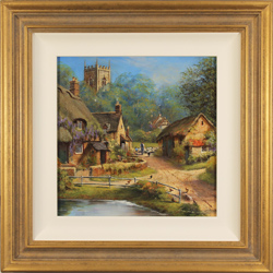 Gordon Lees, Original oil painting on panel, Cotswolds Village in Summer Large image. Click to enlarge