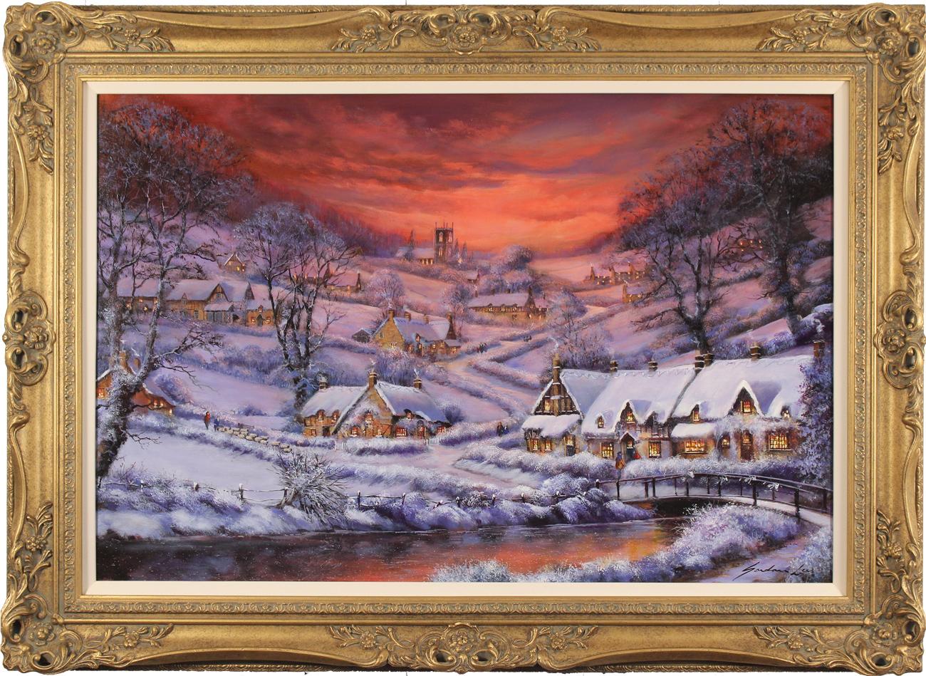 Gordon Lees, Original oil painting on panel, Winter's Splendour, The Cotswolds, click to enlarge