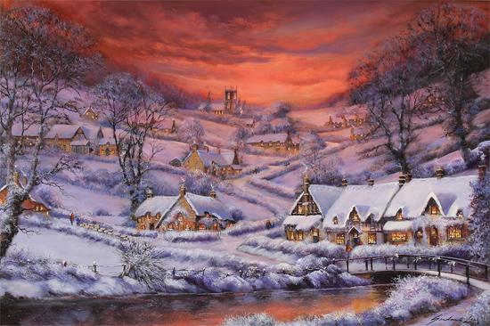 Gordon Lees, Original oil painting on panel, Winter's Splendour, The Cotswolds