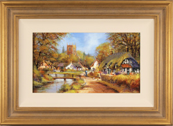 Gordon Lees, Original oil painting on panel, Cotswolds Village in Spring