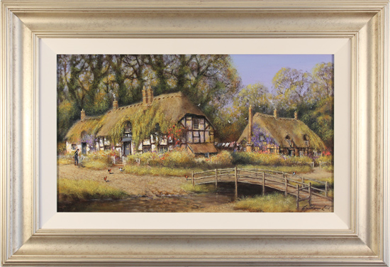 Gordon Lees, Original oil painting on canvas, Summer Days in Ivy Cottages