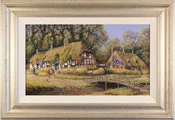 Gordon Lees, Original oil painting on canvas, Summer Days in Ivy Cottages Large image. Click to enlarge