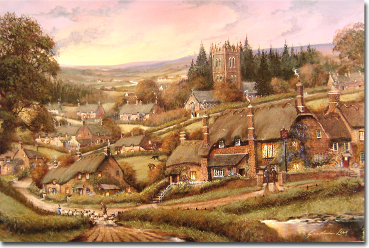 Gordon Lees, Signed limited edition print, Cotswolds Village. Click to enlarge