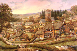 Gordon Lees, Signed limited edition print, Cotswold Village