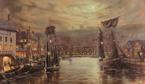 Gordon Lees, Signed limited edition print, Whitby Harbour Without frame image. Click to enlarge