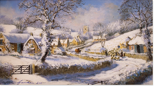 Gordon Lees Original Oil Painting On Canvas The Cotswolds In Snow 14x8ins Art RefGLE200