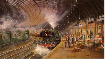 Gordon Lees Original Oil Painting On Canvas York Railway