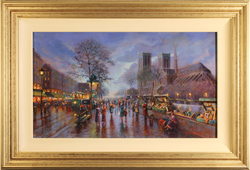 Gordon Lees, Original oil painting on panel, La Rue Notre Dame, Paris