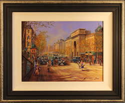 Gordon Lees, Original oil painting on panel, Spring at La Porte St Martin, Paris