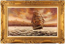 Gordon Lees, Original oil painting on canvas, Endeavour, Whitby, North Yorkshire