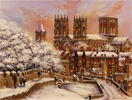 Gordon Lees, Original oil on canvas, Snow on York City Walls
