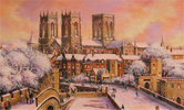 Gordon Lees, Original oil painting on canvas, Snow on York City Walls