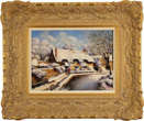 Gordon Lees, Original oil painting on canvas, Sunshine and Snow, Thornton Le Dale