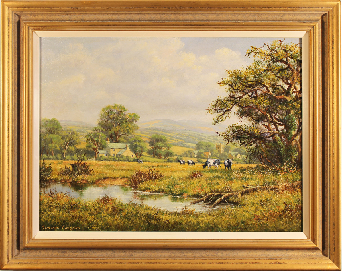 Gordon Lindsay, Original oil painting on canvas, Landscape with Cows, click to enlarge