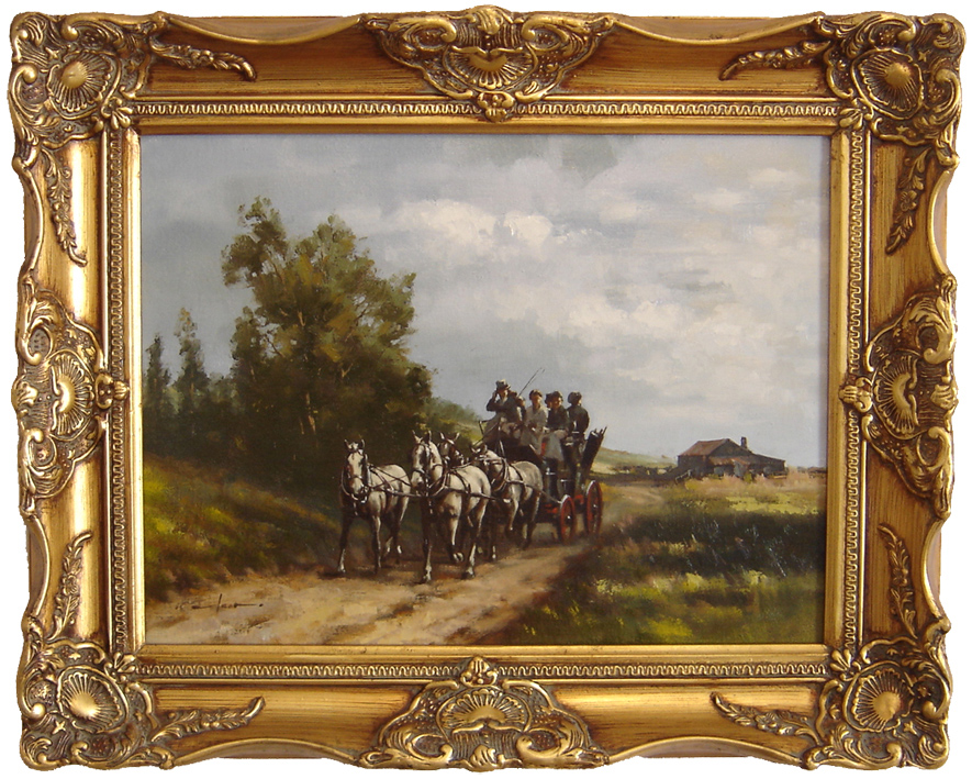 Graham Isom, Original oil painting on canvas, Horse and Cart. Click to enlarge
