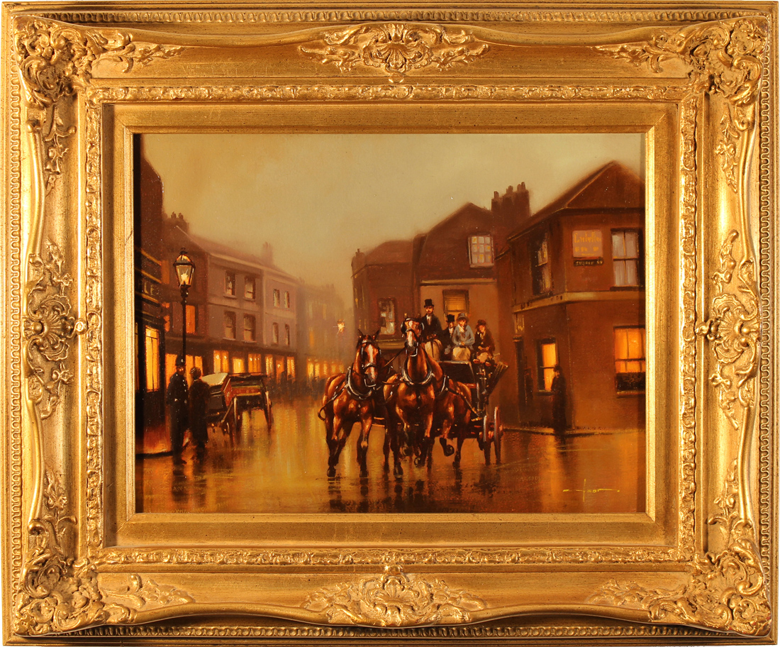 Graham Isom, Original oil painting on canvas, Coach and Horses, click to enlarge