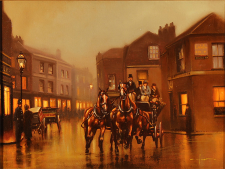 Graham Isom, Original oil painting on canvas, Coach and Horses