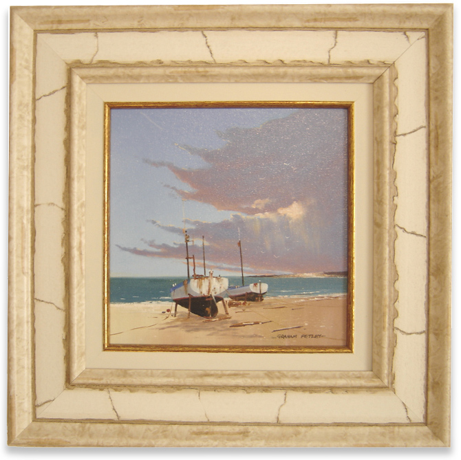 Graham Petley, Original oil painting on panel, Boats on Shore, click to enlarge