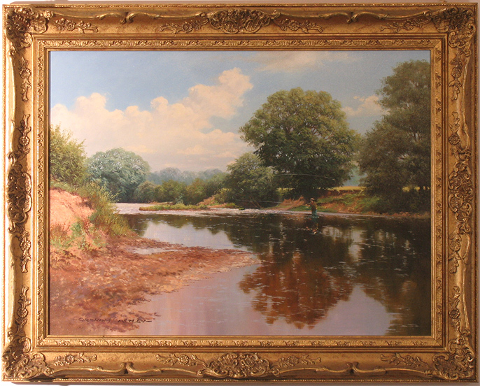 Graham Petley, Original oil painting on canvas, The Long Cast, click to enlarge