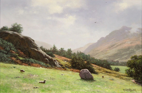 Howard Shingler, Original oil painting on panel, Towards Patterdale from Blowick, Ullswater No frame image. Click to enlarge