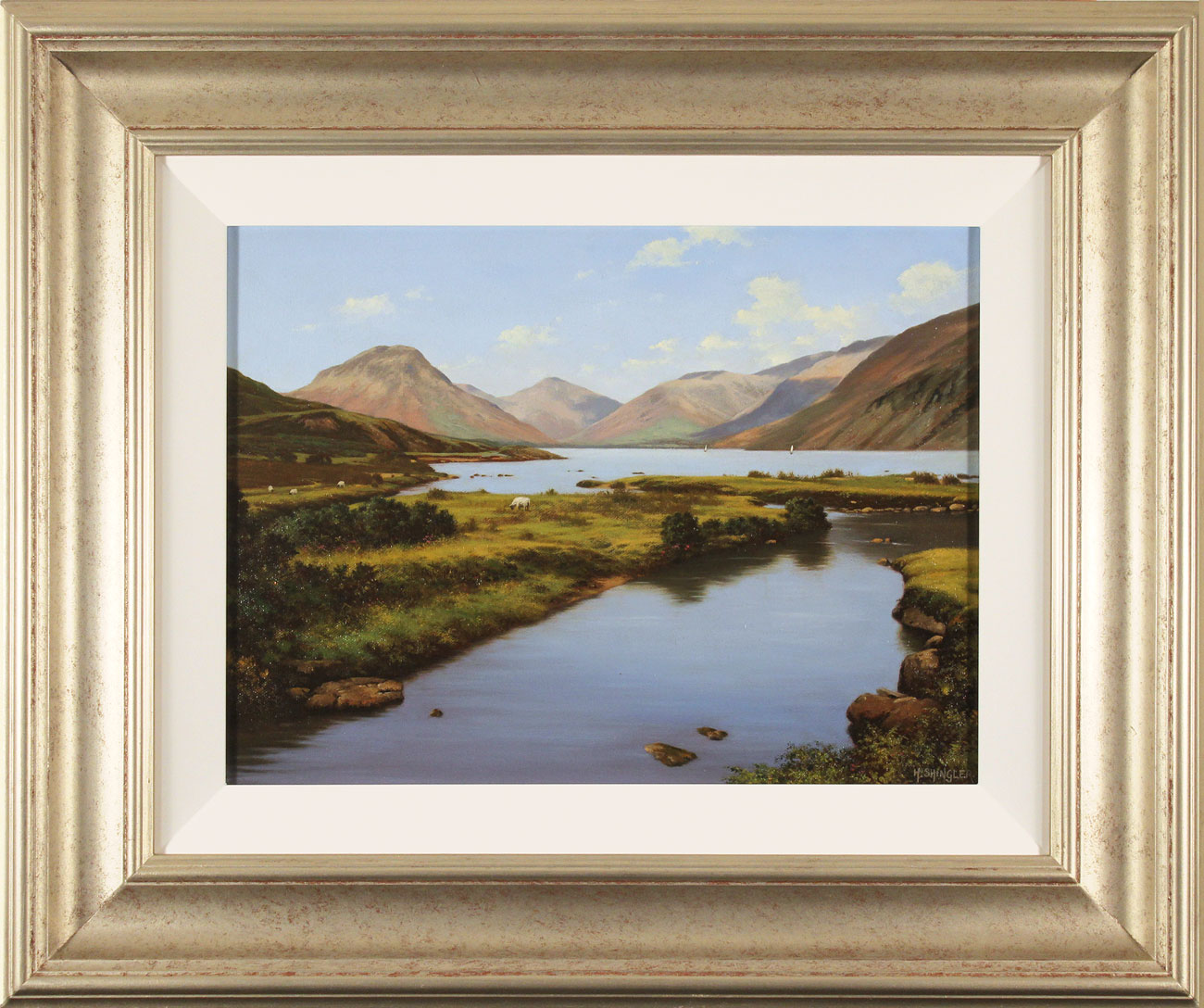 Howard Shingler, Original oil painting on canvas, Scafell and Great Gable, Wastwater, click to enlarge