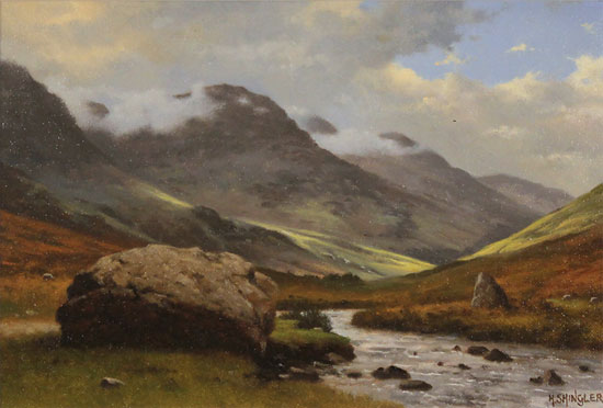 Howard Shingler, Original oil painting on panel, High Stile from Gatesgarthdale Beck Without frame image. Click to enlarge