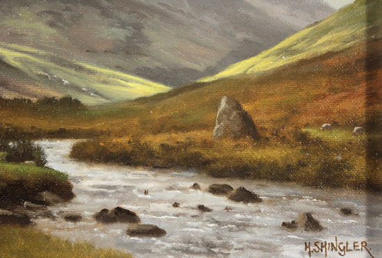Howard Shingler, Original oil painting on panel, High Stile from Gatesgarthdale Beck Signature image. Click to enlarge