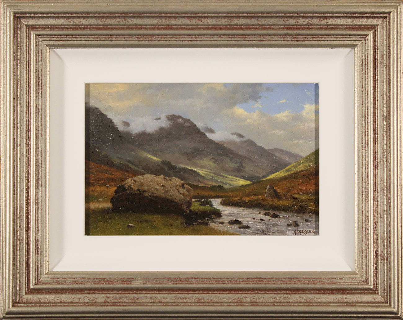 Howard Shingler, Original oil painting on panel, High Stile from Gatesgarthdale Beck. Click to enlarge