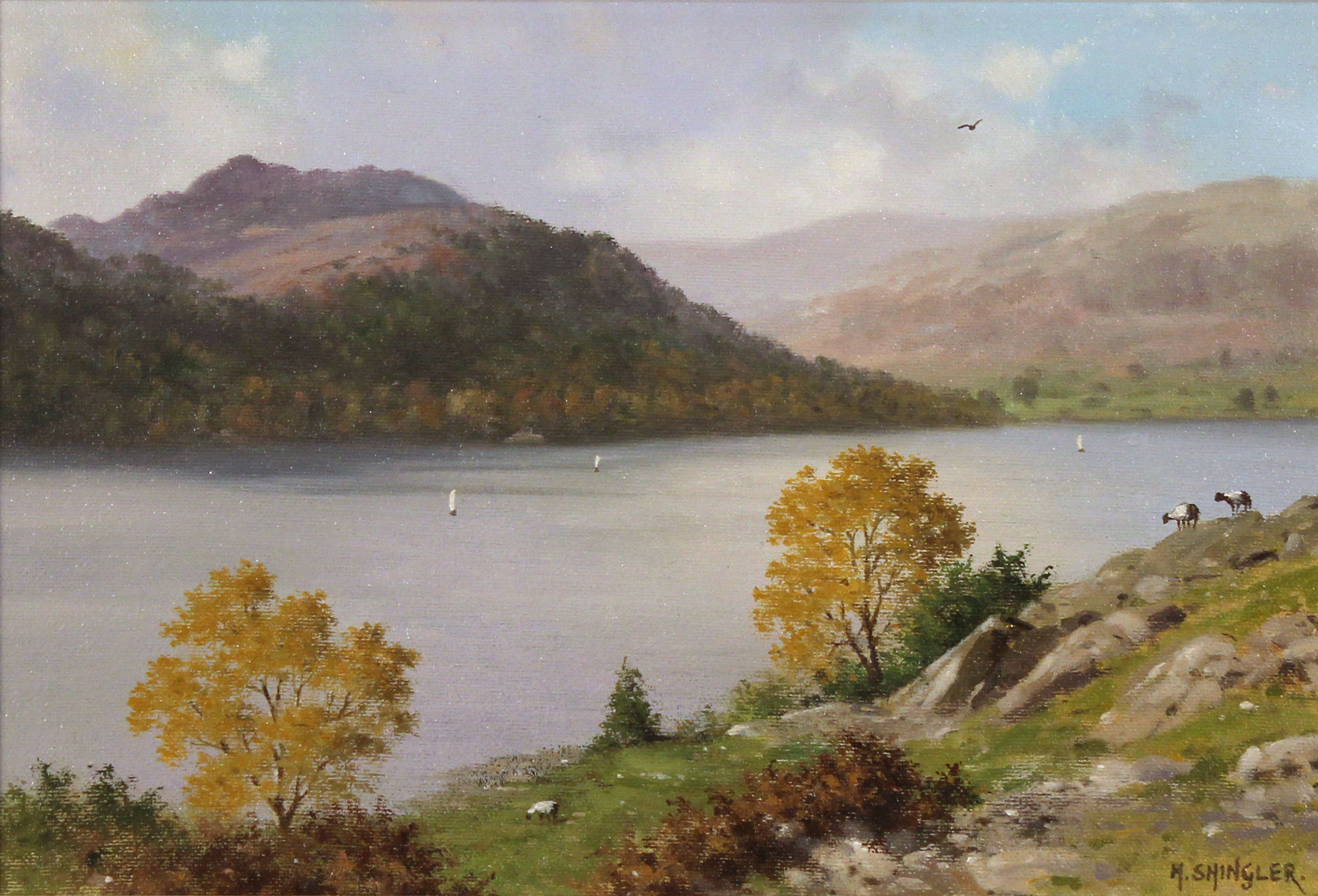 Howard Shingler, Original oil painting on panel, Sheffield Pike from Silver Point, Ullswater Without frame image. Click to enlarge