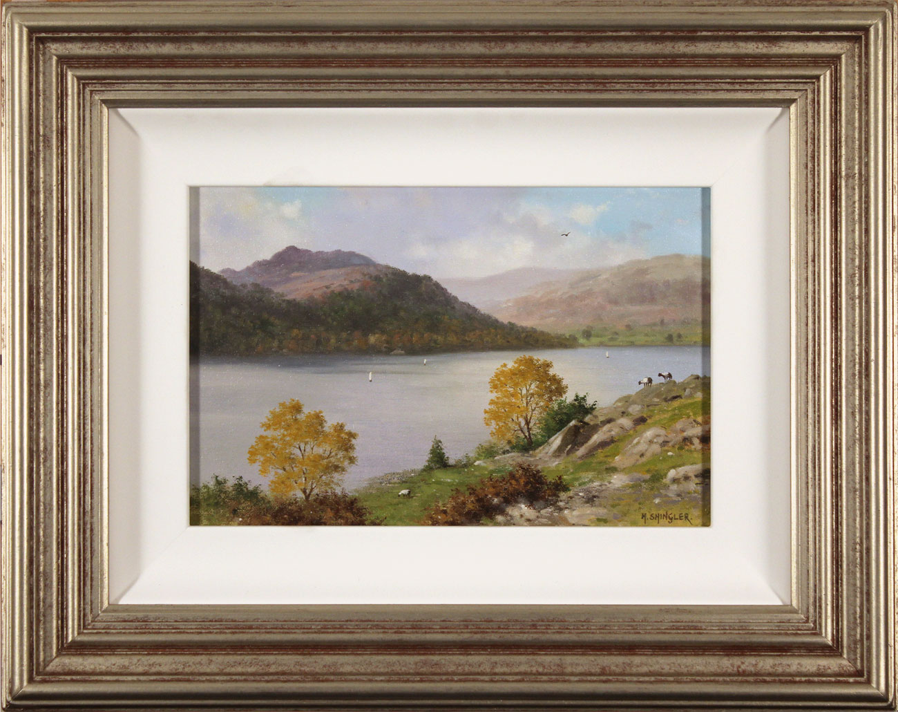 Howard Shingler, Original oil painting on panel, Sheffield Pike from Silver Point, Ullswater. Click to enlarge