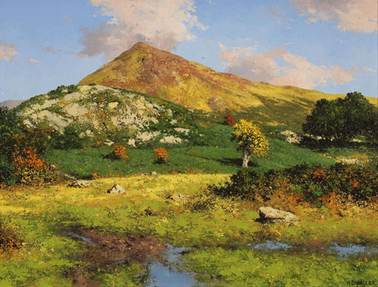 Howard Shingler, Original oil painting on panel, Grassmoor, Rannerdale No frame image. Click to enlarge