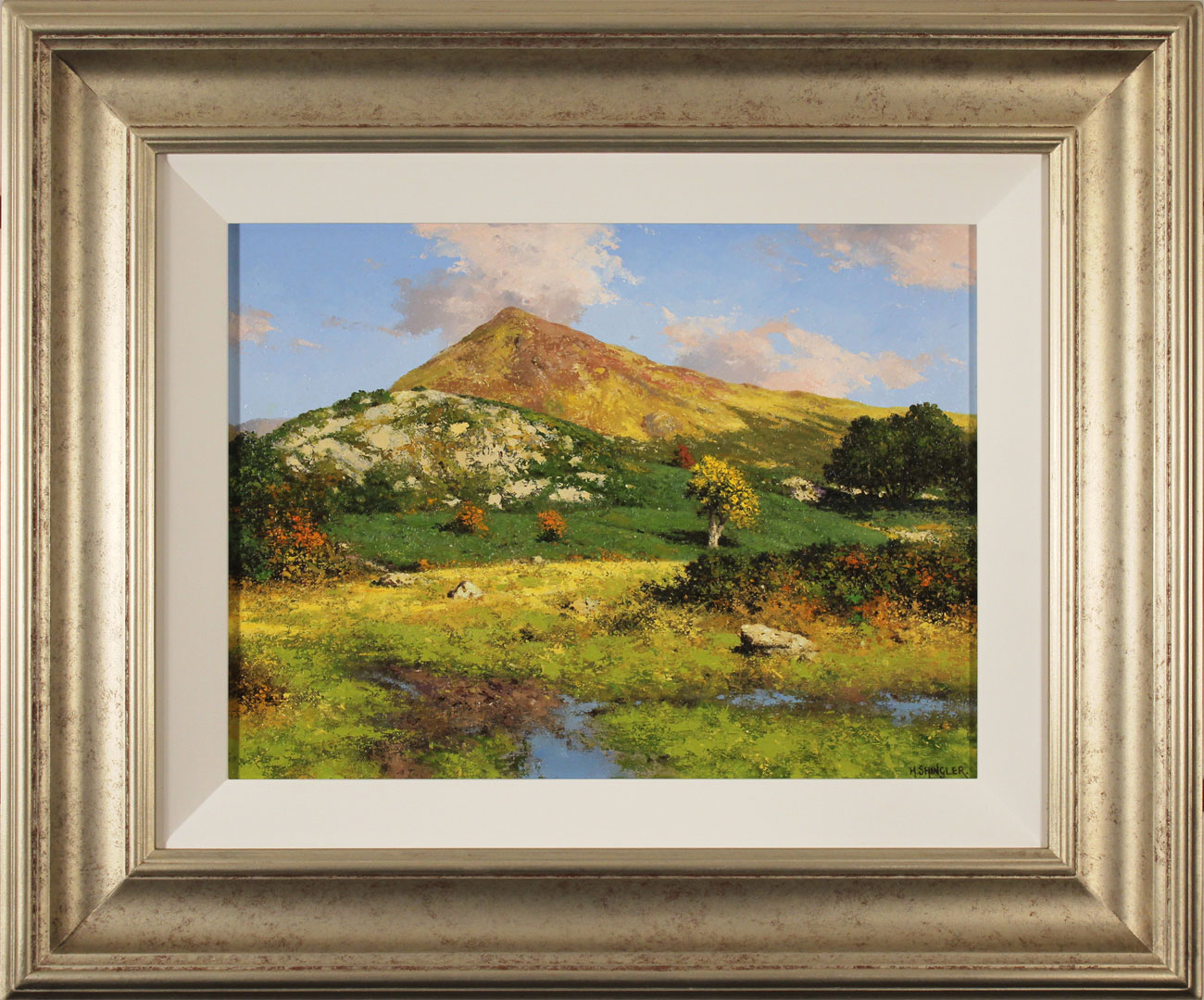 Howard Shingler, Original oil painting on panel, Grassmoor, Rannerdale. Click to enlarge