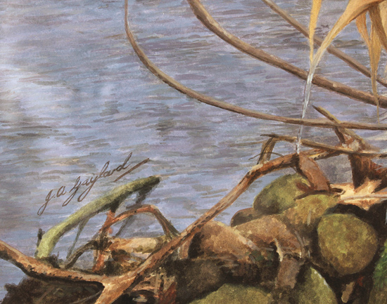 Jacqueline Gaylard, SOFA, Original acrylic painting on board, Golden Retriever Signature image. Click to enlarge