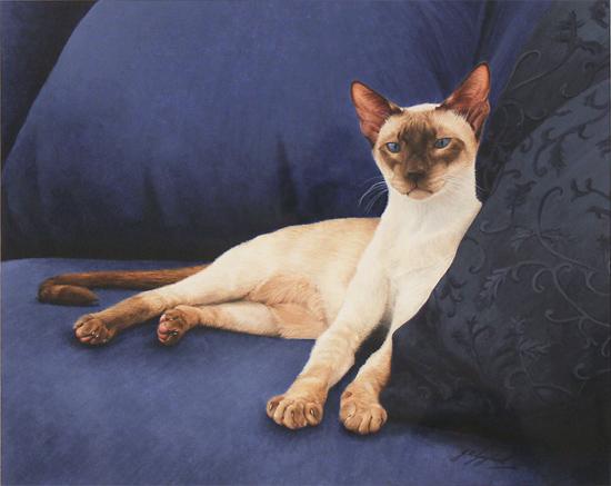 Jacqueline Gaylard, SOFA, Original acrylic painting on board, Sapphire