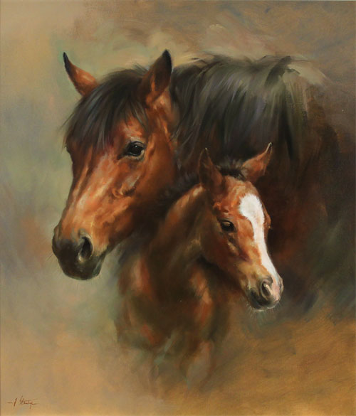 Jacqueline Stanhope, Original oil painting on canvas, Mare and Foal
