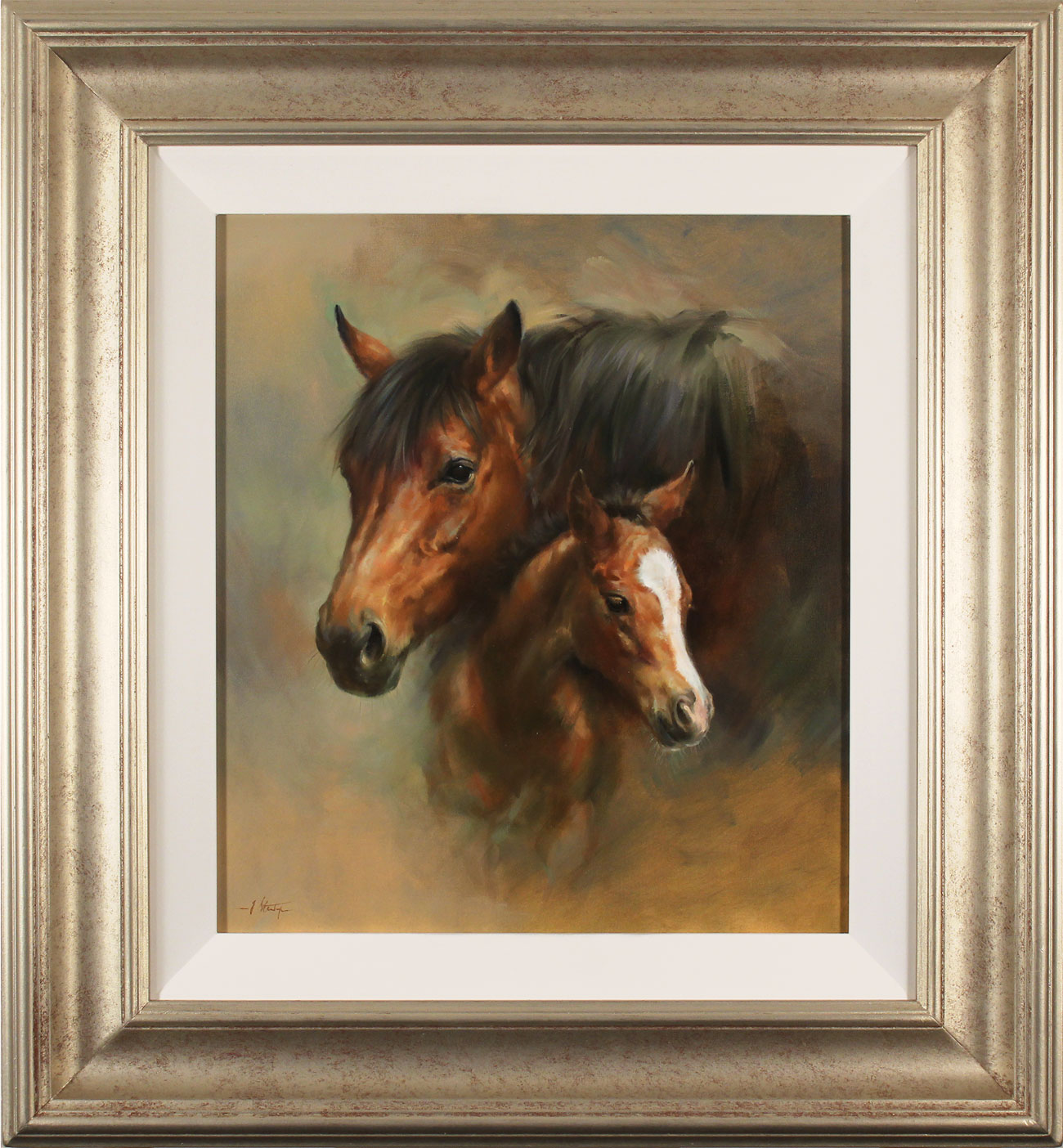 Jacqueline Stanhope, Original oil painting on canvas, Mare and Foal. Click to enlarge