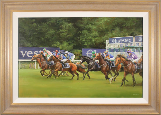 Jacqueline Stanhope, Original oil painting on canvas, Epsom Derby Start, 2016 Without frame image. Click to enlarge