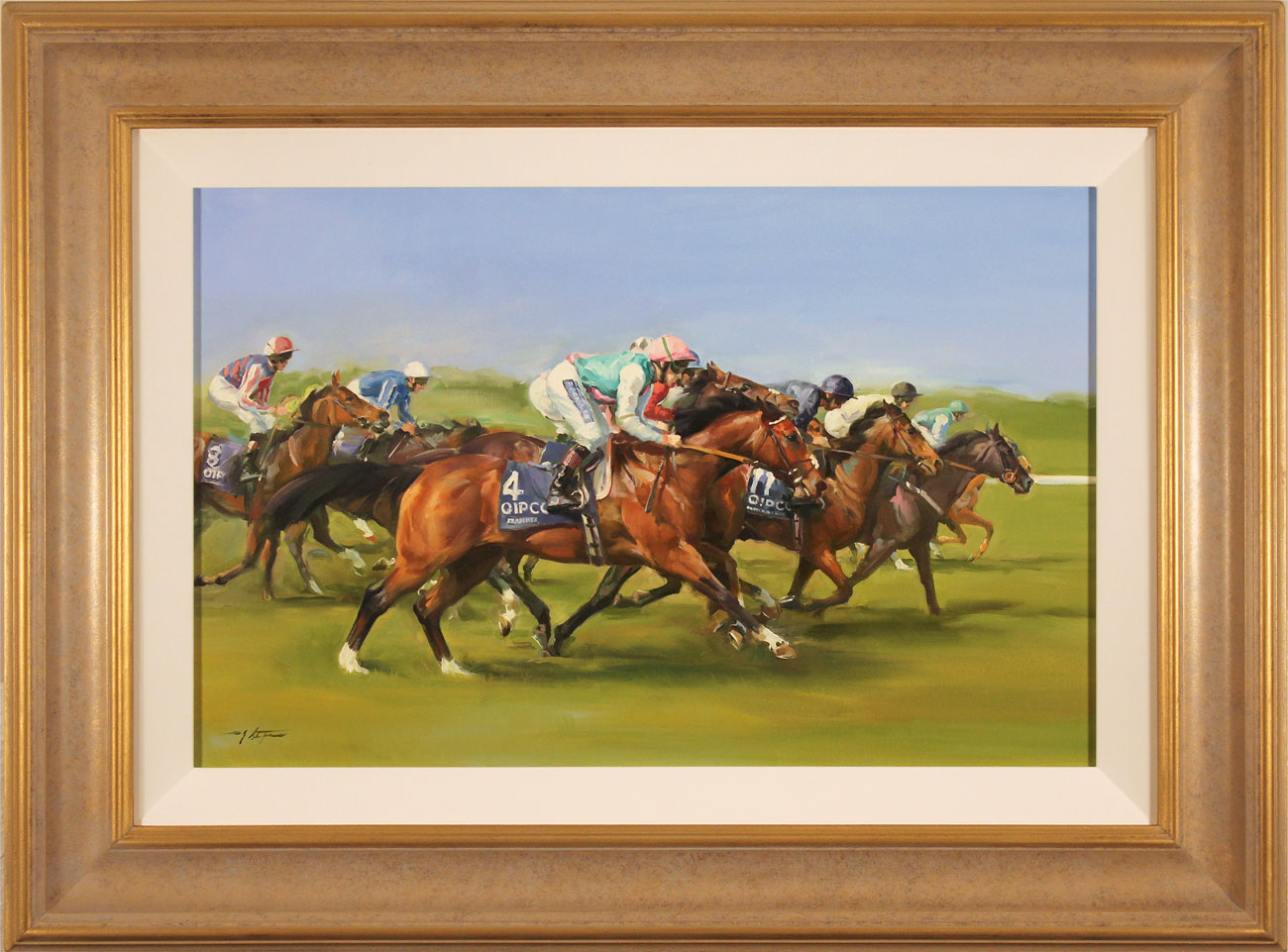 Jacqueline Stanhope, Original oil painting on canvas, Frankel's 2000 Guineas, click to enlarge