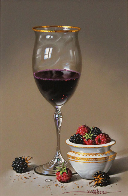 Javier Mulio, Original oil painting on panel, Red Wine and Ripened Fruits