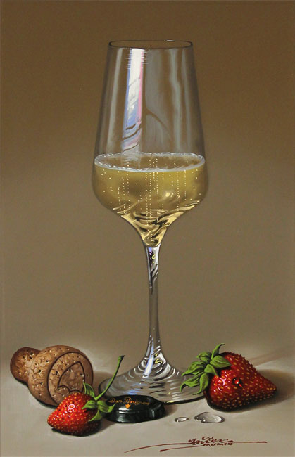 Javier Mulio, Original oil painting on panel, Strawberries and Champagne Without frame image. Click to enlarge