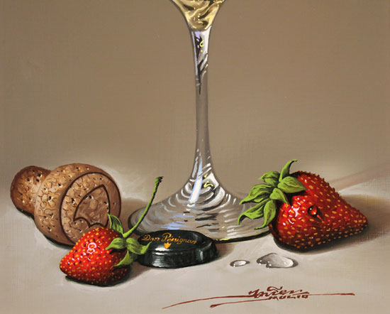 Javier Mulio, Original oil painting on panel, Strawberries and Champagne Signature image. Click to enlarge