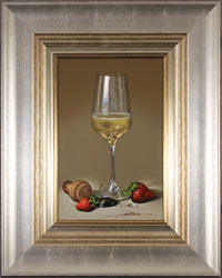 Javier Mulio, Original oil painting on panel, Strawberries and Champagne Large image. Click to enlarge