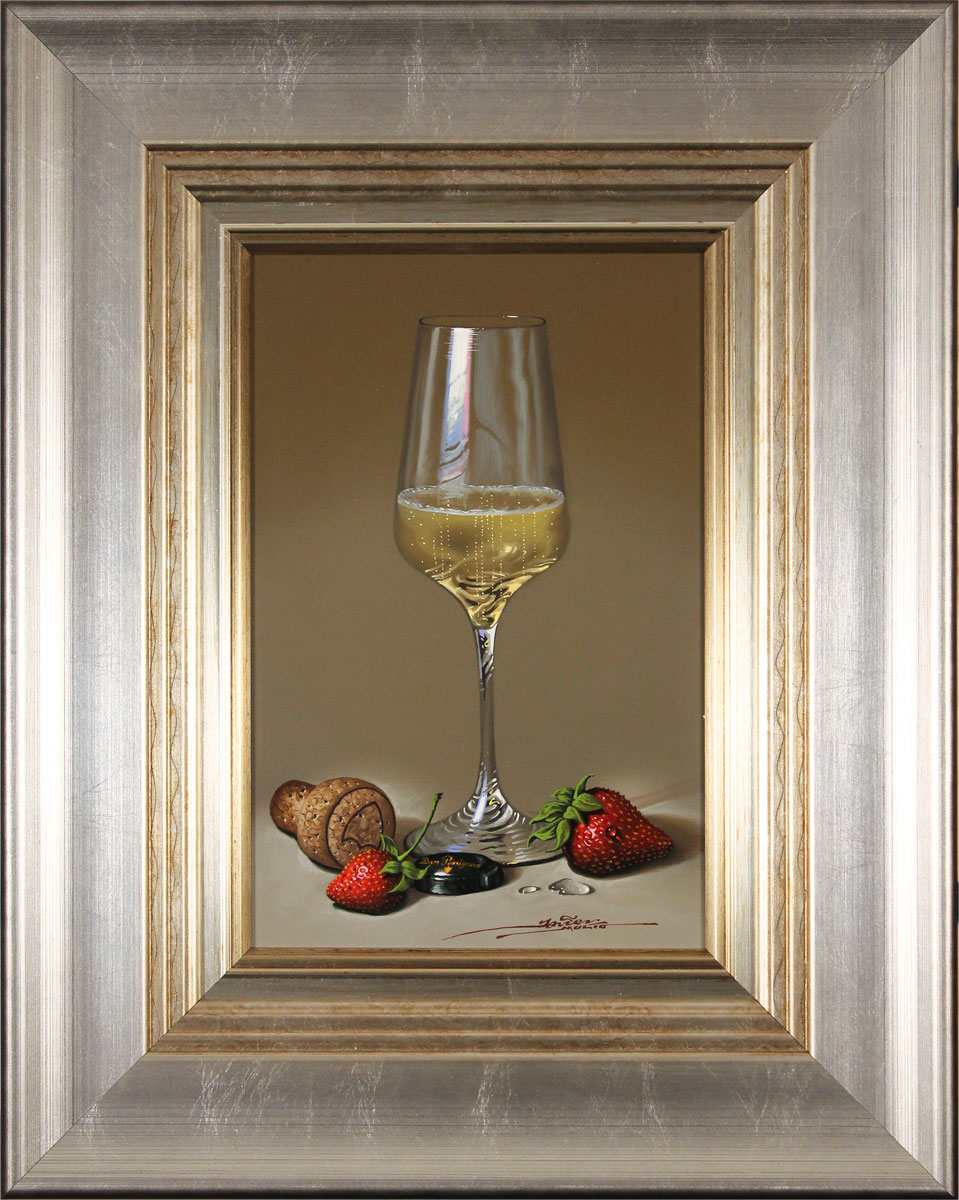 Javier Mulio, Original oil painting on panel, Strawberries and Champagne. Click to enlarge