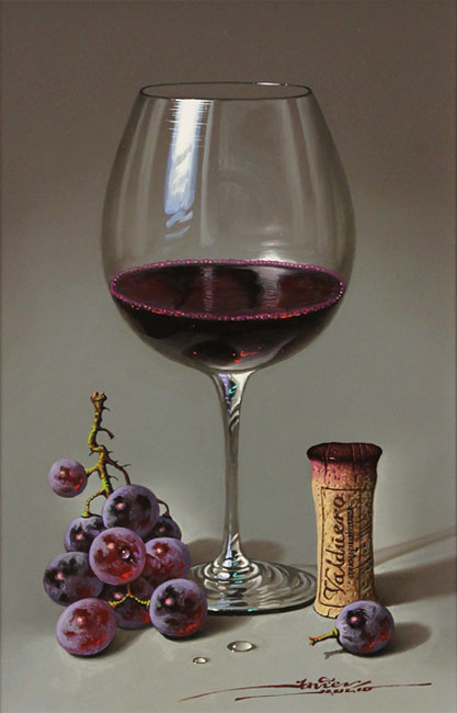 Javier Mulio, Original oil painting on panel, Glass of Spanish Red No frame image. Click to enlarge
