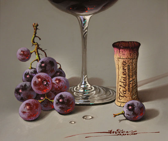 Javier Mulio, Original oil painting on panel, Glass of Spanish Red Signature image. Click to enlarge
