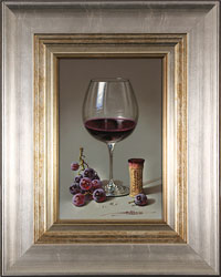 Javier Mulio, Original oil painting on panel, Glass of Spanish Red Large image. Click to enlarge