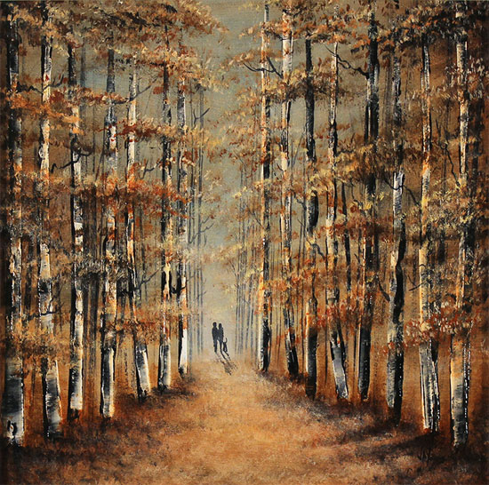 Jay Nottingham, Original oil painting on panel, A Walk in the Wood Without frame image. Click to enlarge