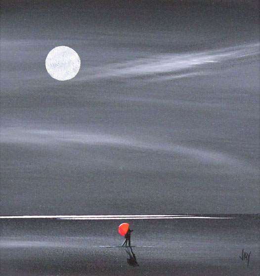 Jay Nottingham, Original oil painting on panel, Moonlight Kiss Without frame image. Click to enlarge