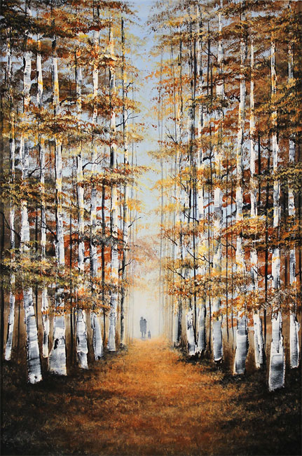 Jay Nottingham, Original oil painting on panel, Autumn Canopy Without frame image. Click to enlarge